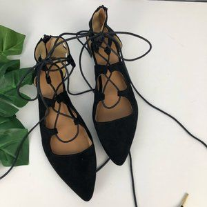 Qupid Black Lace Tie Up Pointy Toe Flats Size 8.5